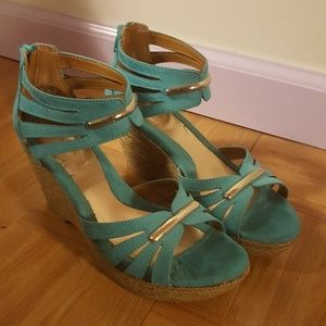 Teal and Gold Wedge